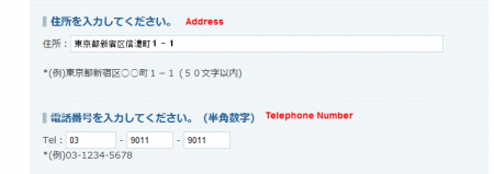 Address and telephone 450x159